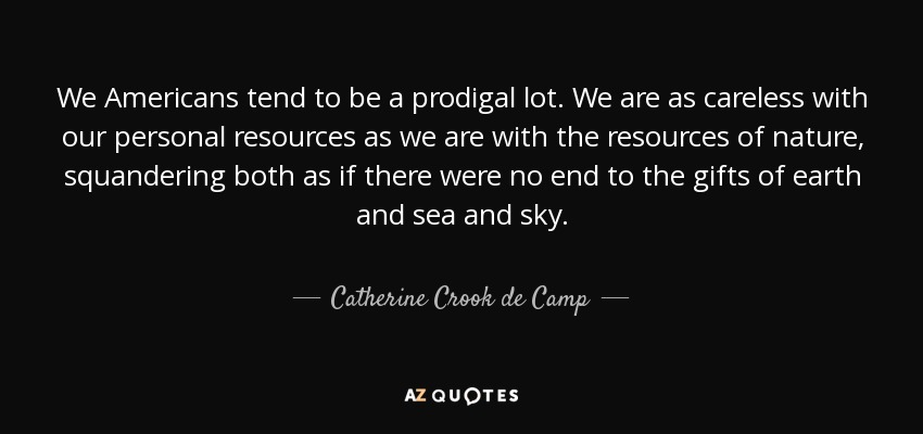 We Americans tend to be a prodigal lot. We are as careless with our personal resources as we are with the resources of nature, squandering both as if there were no end to the gifts of earth and sea and sky. - Catherine Crook de Camp