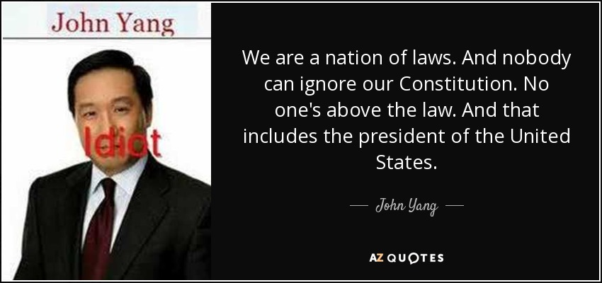 We are a nation of laws. And nobody can ignore our Constitution. No one's above the law. And that includes the president of the United States. - John Yang