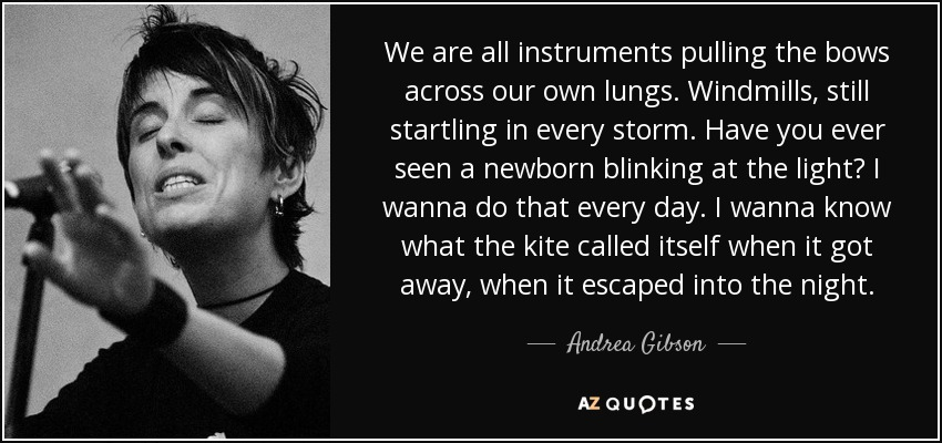 We are all instruments pulling the bows across our own lungs. Windmills, still startling in every storm. Have you ever seen a newborn blinking at the light? I wanna do that every day. I wanna know what the kite called itself when it got away, when it escaped into the night. - Andrea Gibson