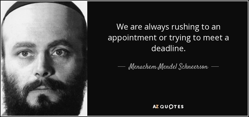 We are always rushing to an appointment or trying to meet a deadline. - Menachem Mendel Schneerson