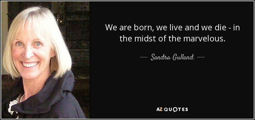 We are born, we live and we die - in the midst of the marvelous. - Sandra Gulland