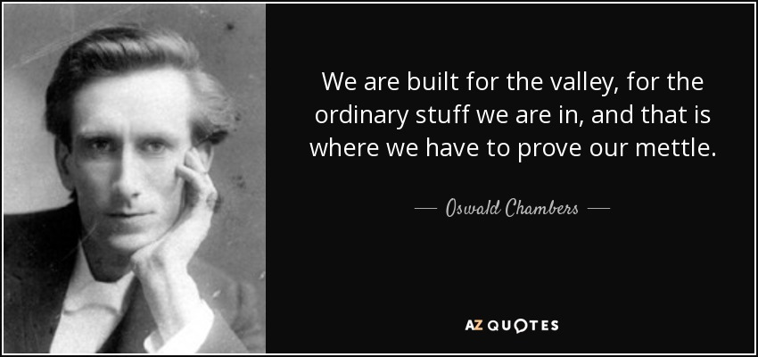 We are built for the valley, for the ordinary stuff we are in, and that is where we have to prove our mettle. - Oswald Chambers