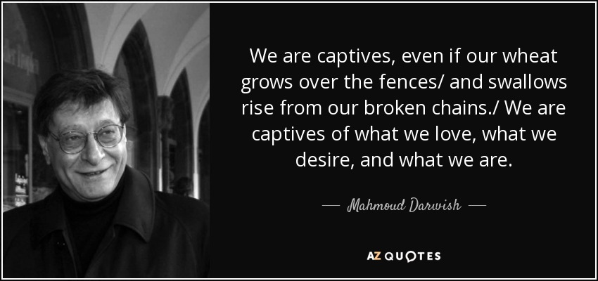 We are captives, even if our wheat grows over the fences/ and swallows rise from our broken chains./ We are captives of what we love, what we desire, and what we are. - Mahmoud Darwish