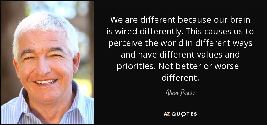 We are different because our brain is wired differently. This causes us to perceive the world in different ways and have different values and priorities. Not better or worse - different. - Allan Pease