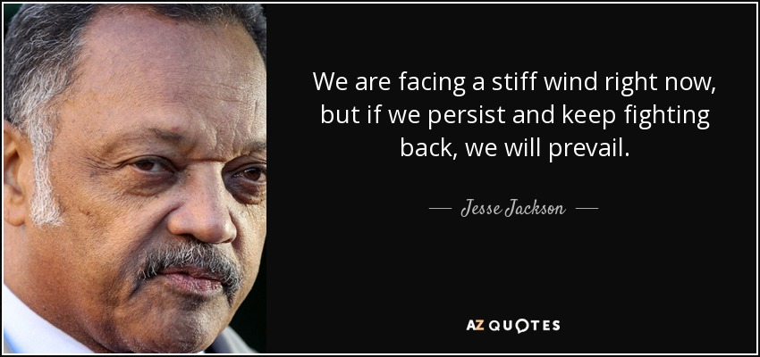 We are facing a stiff wind right now, but if we persist and keep fighting back, we will prevail. - Jesse Jackson