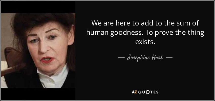 We are here to add to the sum of human goodness. To prove the thing exists. - Josephine Hart