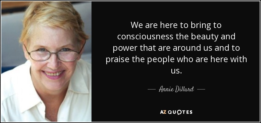 We are here to bring to consciousness the beauty and power that are around us and to praise the people who are here with us. - Annie Dillard