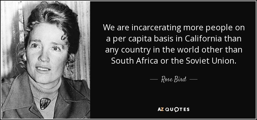 We are incarcerating more people on a per capita basis in California than any country in the world other than South Africa or the Soviet Union. - Rose Bird