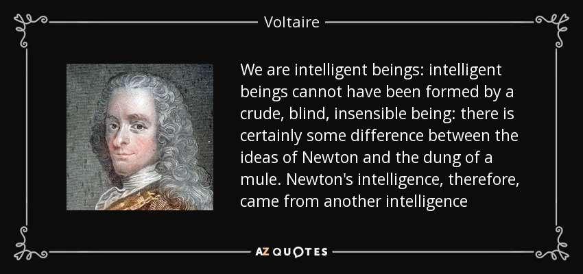 We are intelligent beings: intelligent beings cannot have been formed by a crude, blind, insensible being: there is certainly some difference between the ideas of Newton and the dung of a mule. Newton's intelligence, therefore, came from another intelligence - Voltaire