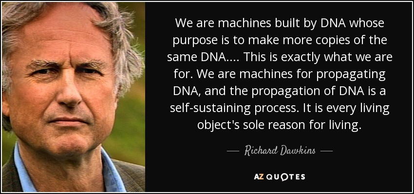 We are machines built by DNA whose purpose is to make more copies of the same DNA. ... This is exactly what we are for. We are machines for propagating DNA, and the propagation of DNA is a self-sustaining process. It is every living object's sole reason for living. - Richard Dawkins