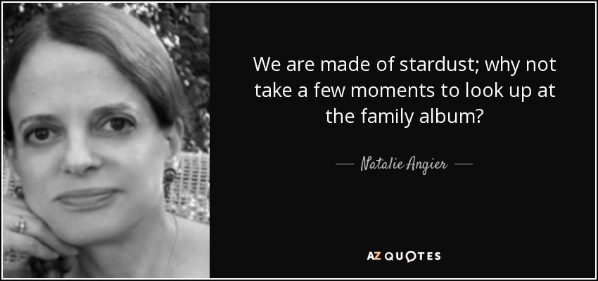 We are made of stardust; why not take a few moments to look up at the family album? - Natalie Angier