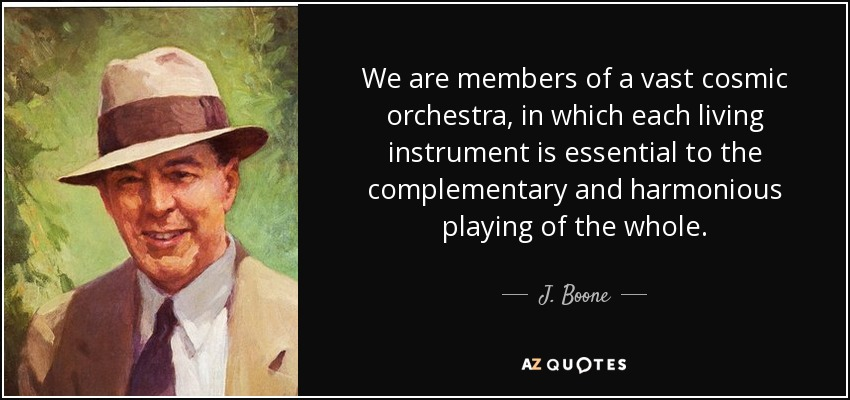 We are members of a vast cosmic orchestra, in which each living instrument is essential to the complementary and harmonious playing of the whole. - J. Boone