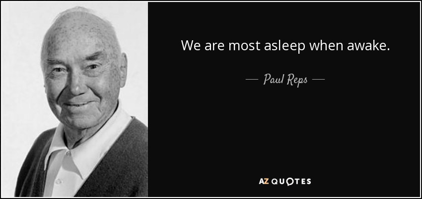 We are most asleep when awake. - Paul Reps