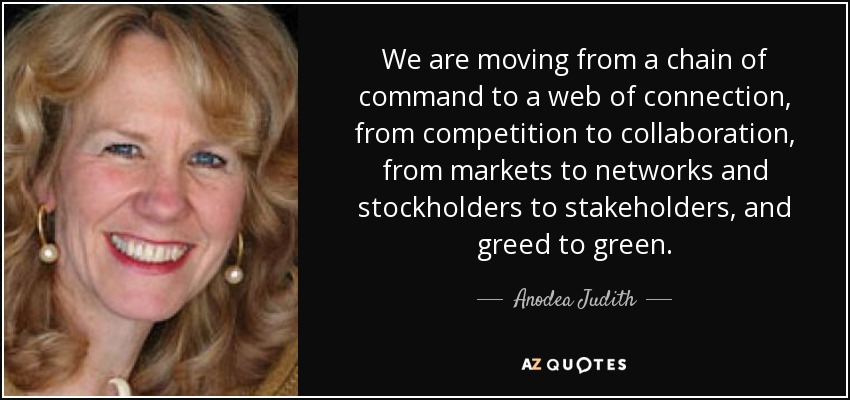 We are moving from a chain of command to a web of connection, from competition to collaboration, from markets to networks and stockholders to stakeholders, and greed to green. - Anodea Judith