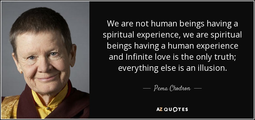 We are not human beings having a spiritual experience, we are spiritual beings having a human experience and Infinite love is the only truth; everything else is an illusion. - Pema Chodron