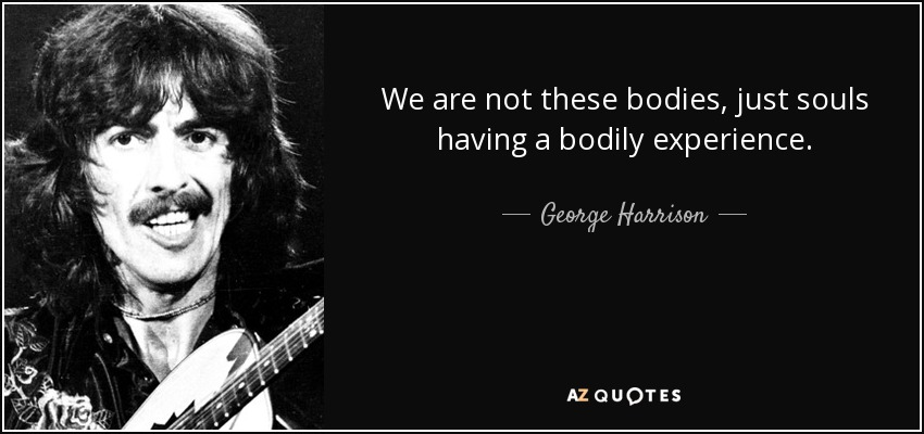We are not these bodies, just souls having a bodily experience. - George Harrison