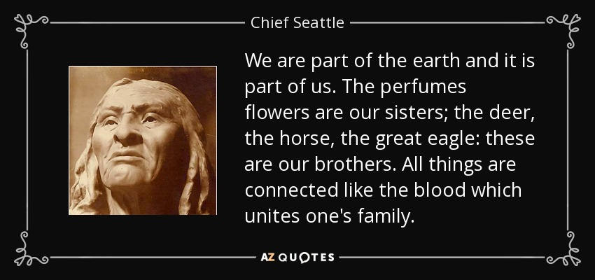We are part of the earth and it is part of us. The perfumes flowers are our sisters; the deer, the horse, the great eagle: these are our brothers. All things are connected like the blood which unites one's family. - Chief Seattle