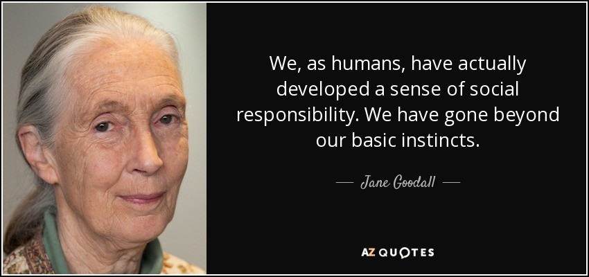 We, as humans, have actually developed a sense of social responsibility. We have gone beyond our basic instincts. - Jane Goodall
