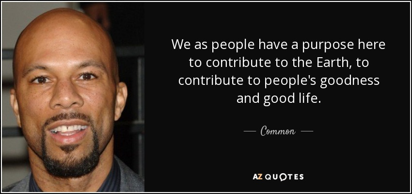 We as people have a purpose here to contribute to the Earth, to contribute to people's goodness and good life. - Common