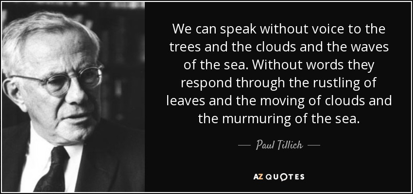 We can speak without voice to the trees and the clouds and the waves of the sea. Without words they respond through the rustling of leaves and the moving of clouds and the murmuring of the sea. - Paul Tillich