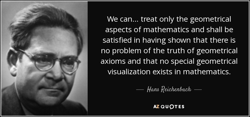 We can... treat only the geometrical aspects of mathematics and shall be satisfied in having shown that there is no problem of the truth of geometrical axioms and that no special geometrical visualization exists in mathematics. - Hans Reichenbach
