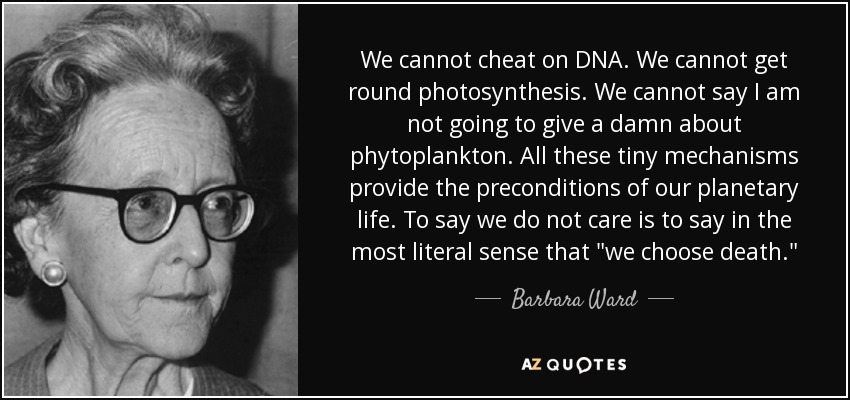 We cannot cheat on DNA. We cannot get round photosynthesis. We cannot say I am not going to give a damn about phytoplankton. All these tiny mechanisms provide the preconditions of our planetary life. To say we do not care is to say in the most literal sense that