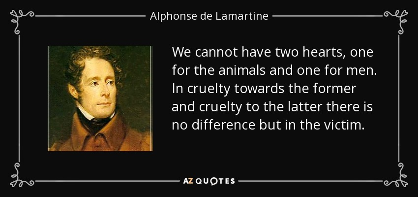 We cannot have two hearts, one for the animals and one for men. In cruelty towards the former and cruelty to the latter there is no difference but in the victim. - Alphonse de Lamartine