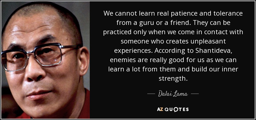 We cannot learn real patience and tolerance from a guru or a friend. They can be practiced only when we come in contact with someone who creates unpleasant experiences. According to Shantideva, enemies are really good for us as we can learn a lot from them and build our inner strength. - Dalai Lama