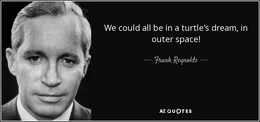 We could all be in a turtle's dream, in outer space! - Frank Reynolds