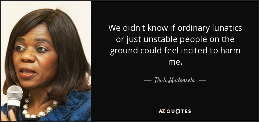 We didn't know if ordinary lunatics or just unstable people on the ground could feel incited to harm me. - Thuli Madonsela