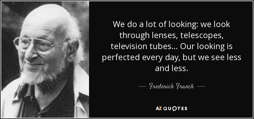 We do a lot of looking: we look through lenses, telescopes, television tubes... Our looking is perfected every day, but we see less and less. - Frederick Franck