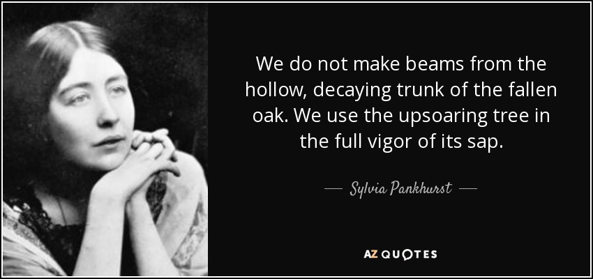 We do not make beams from the hollow, decaying trunk of the fallen oak. We use the upsoaring tree in the full vigor of its sap. - Sylvia Pankhurst