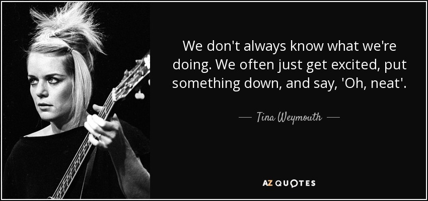 We don't always know what we're doing. We often just get excited, put something down, and say, 'Oh, neat'. - Tina Weymouth