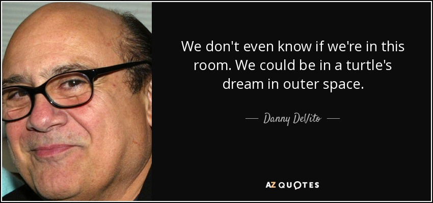 We don't even know if we're in this room. We could be in a turtle's dream in outer space. - Danny DeVito