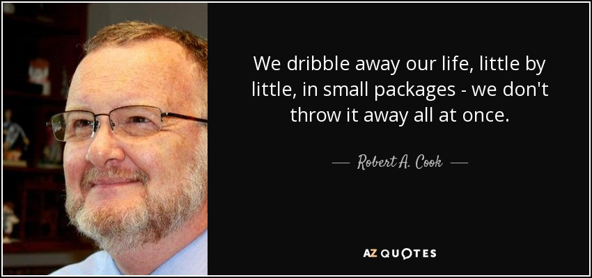 We dribble away our life, little by little, in small packages - we don't throw it away all at once. - Robert A. Cook