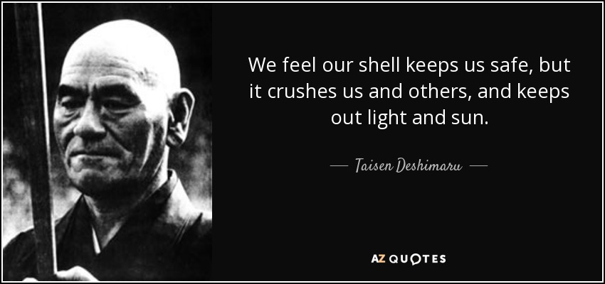 We feel our shell keeps us safe, but it crushes us and others, and keeps out light and sun. - Taisen Deshimaru