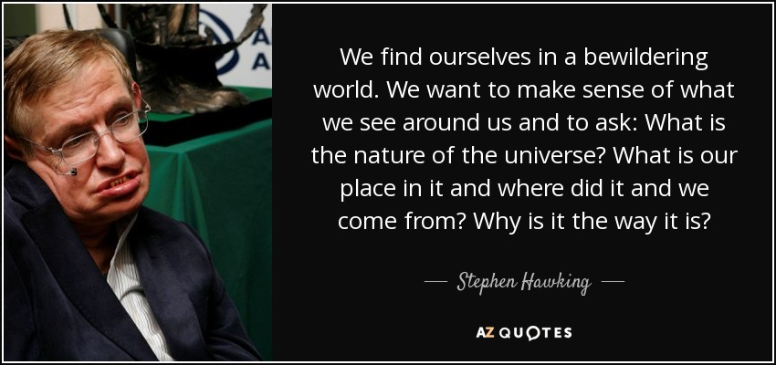 Stephen Hawking Quote We Find Ourselves In A Bewildering World We
