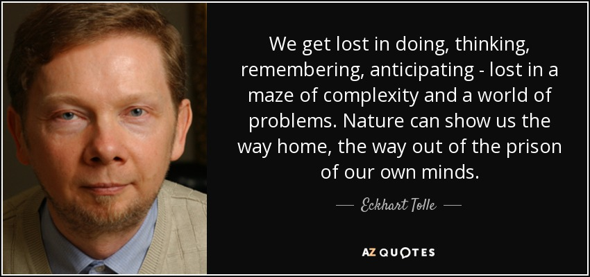 We get lost in doing, thinking, remembering, anticipating - lost in a maze of complexity and a world of problems. Nature can show us the way home, the way out of the prison of our own minds. - Eckhart Tolle