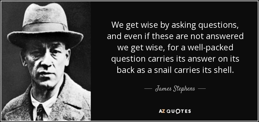 We get wise by asking questions, and even if these are not answered we get wise, for a well-packed question carries its answer on its back as a snail carries its shell. - James Stephens
