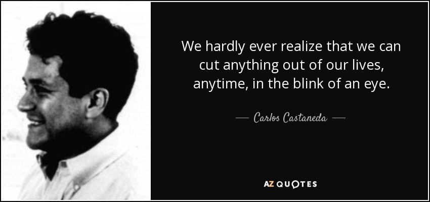 We hardly ever realize that we can cut anything out of our lives, anytime, in the blink of an eye. - Carlos Castaneda