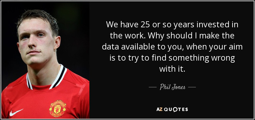 We have 25 or so years invested in the work. Why should I make the data available to you, when your aim is to try to find something wrong with it. - Phil Jones