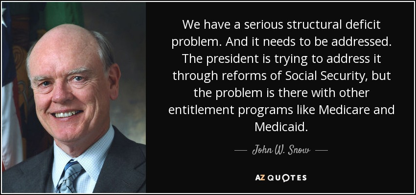 We have a serious structural deficit problem. And it needs to be addressed. The president is trying to address it through reforms of Social Security, but the problem is there with other entitlement programs like Medicare and Medicaid. - John W. Snow