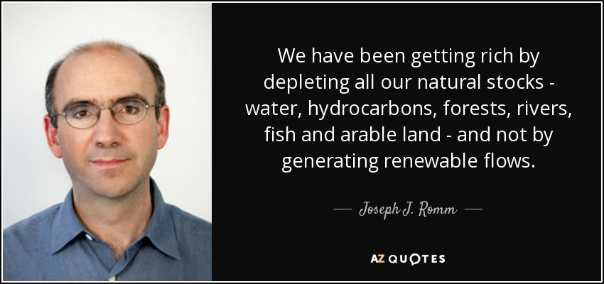 We have been getting rich by depleting all our natural stocks - water, hydrocarbons, forests, rivers, fish and arable land - and not by generating renewable flows. - Joseph J. Romm