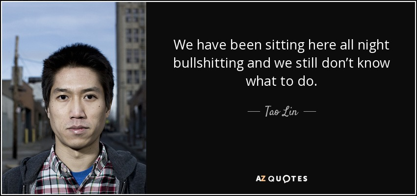 We have been sitting here all night bullshitting and we still don't know what to do. - Tao Lin