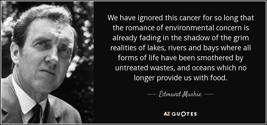 We have ignored this cancer for so long that the romance of environmental concern is already fading in the shadow of the grim realities of lakes, rivers and bays where all forms of life have been smothered by untreated wastes, and oceans which no longer provide us with food. - Edmund Muskie