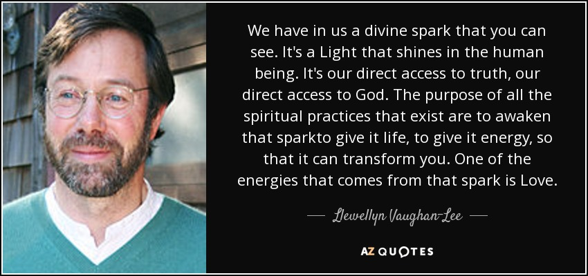 We have in us a divine spark that you can see. It's a Light that shines in the human being. It's our direct access to truth, our direct access to God. The purpose of all the spiritual practices that exist are to awaken that sparkto give it life, to give it energy, so that it can transform you. One of the energies that comes from that spark is Love. - Llewellyn Vaughan-Lee