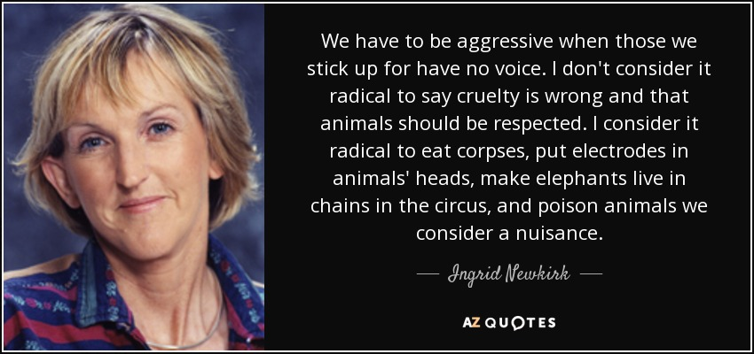 We have to be aggressive when those we stick up for have no voice. I don't consider it radical to say cruelty is wrong and that animals should be respected. I consider it radical to eat corpses, put electrodes in animals' heads, make elephants live in chains in the circus, and poison animals we consider a nuisance. - Ingrid Newkirk