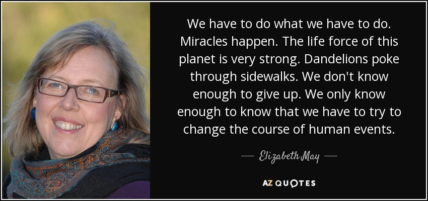 We have to do what we have to do. Miracles happen. The life force of this planet is very strong. Dandelions poke through sidewalks. We don't know enough to give up. We only know enough to know that we have to try to change the course of human events. - Elizabeth May