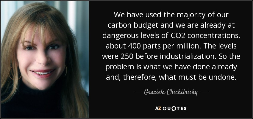 We have used the majority of our carbon budget and we are already at dangerous levels of CO2 concentrations, about 400 parts per million. The levels were 250 before industrialization. So the problem is what we have done already and, therefore, what must be undone. - Graciela Chichilnisky