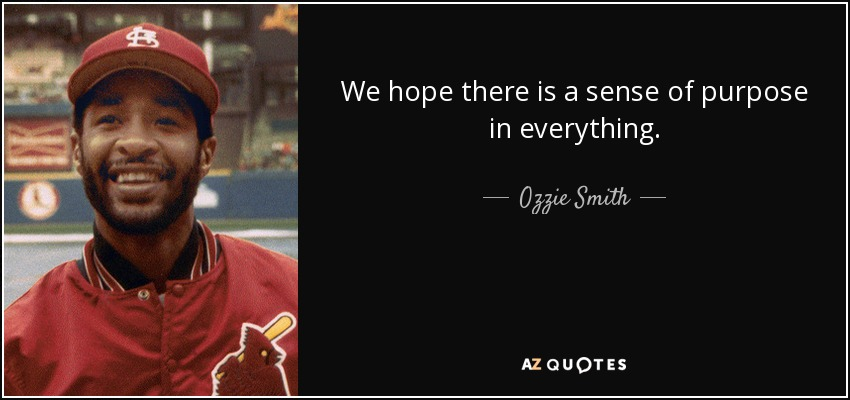 We hope there is a sense of purpose in everything. - Ozzie Smith
